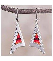 sterling silver and wool blend dangle earrings, 'red dawn' (peru)
