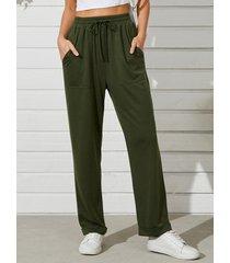 pantalones de cintura con cordón de bolsillo lateral verde militar de yoins