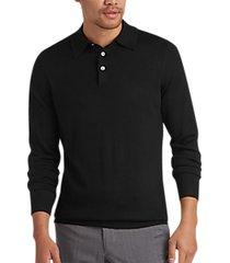 joseph abboud black polo collar merino wool sweater