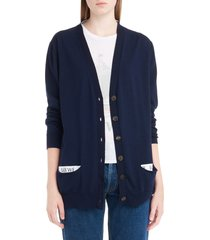 women's loewe logo wool blend cardigan, size x-small - blue