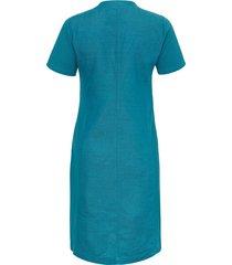 linnen jurk met korte mouwen en grote v-hals van doris streich turquoise