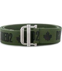 dsquared2 logo print belt - green