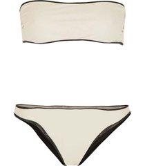 reversible bandeau bikini hampton  beige/ zwart