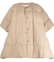 jil sander padded down cape coat - neutrals