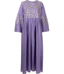 bambah embroidered kaftan jumpsuit - purple