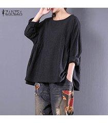zanzea de manga larga con cuello redondo de la tela escocesa del suéter camisa señoras del otoño del algodón de lino libre del tartán negro blusa azul de gran tamaño top negro -negro