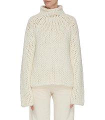 chunky mock neck alpaca blend sweater