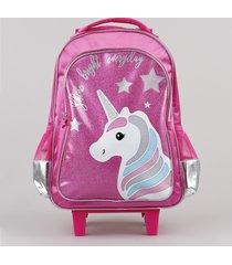 mochila escolar infantil unicórnio com rodinhas pink
