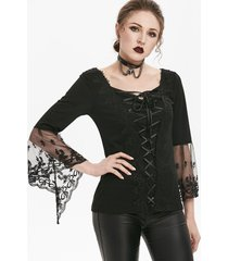 gothic lace up flare sleeve sweetheart t-shirt