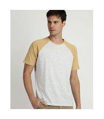 camiseta masculina básica raglan manga curta gola careca cinza
