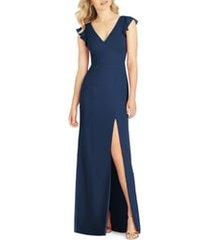 women's after six v-neck ruffle sleeve column gown, size 12 - blue