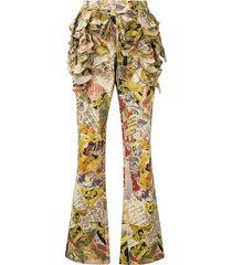 moschino pre-owned ruffled patchwork-print flared trousers -