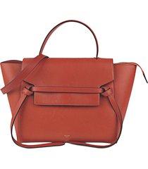 celine belt leather satchel red sz: m
