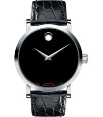 movado men's swiss automatic red label black leather strap watch 42mm