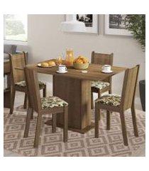 conjunto sala de jantar lexy madesa mesa tampo de madeira com 4 cadeiras rustic/bege marrom