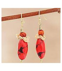 agate beaded cluster earrings, 'fiery combination' (india)