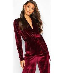 tall belted velvet blazer, berry