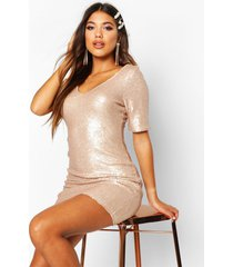 sequin short sleeve bodycon dress, gold