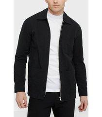 whyred alan zip searsucker skjortor black