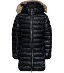 d1. long faux fur puffer jacket gevoerd jack zwart gant
