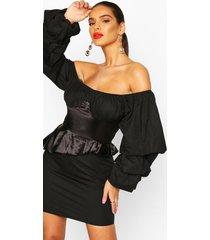 off the shoulder peplum corset mini dress, black