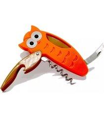 saca rolhas e cortador de lacres - coruja
