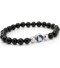 men's cufflinks, inc. mlb baseball dodgers beaded stretch bracelet