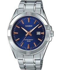 reloj analógico hombre casio mtp-1308d-2a - plateado con azul