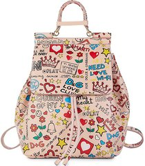 dolce & gabbana women's mural-print leather backpack - pink multi