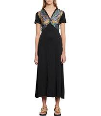 women's sandro rabba scarf print bodice midi dress