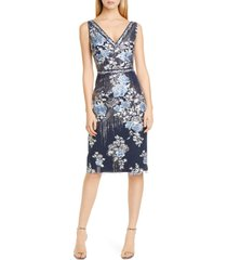 women's marchesa notte sequin floral embroidered tulle cocktail dress