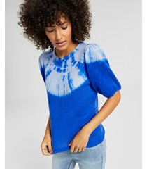 charter club cashmere tie-dyed puff-sleeve sweater, created for macy's