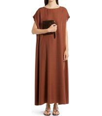 the row sebastian silk shantung dress, size medium in toffee at nordstrom