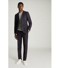 reiss player - wool slim fit blazer in navy, mens, size 46