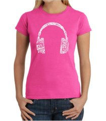 women's word art t-shirt - language headphones