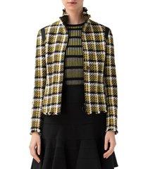 women's akris punto check tweed crop jacket, size 4 - black