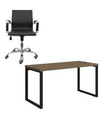 mesa de escritório kappesberg 1.50m com cadeira trevalla presidente