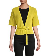 textured cotton-blend belted cardigan