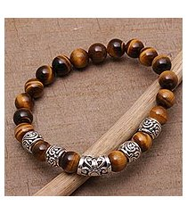 tiger's eye beaded stretch bracelet, 'earthen temple' (indonesia)