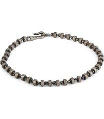 mini omni bead bracelet in oxidized sterling silver