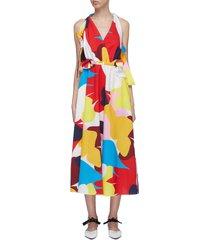 cutout back bow abstract print dress