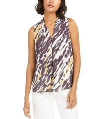 bar iii abstract animal-print v-neck blouse, created for macy's