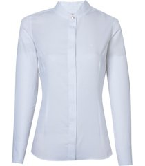 camisa dudalina manga longa cetim maquinetado feminina (branco, 46)