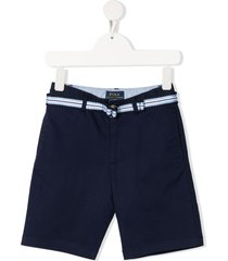 ralph lauren kids stripe belt chino shorts - blue