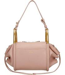 chloé hailey shoulder bag in rose-pink leather