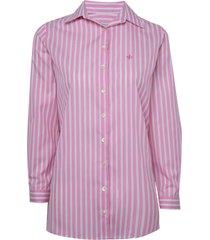 camisa dudalina manga longa tricoline fio tinto maxi listras feminina (listrado, 46)