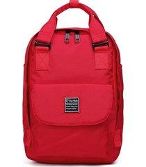 mochila femenina de gran capacidad de computadora-rojo