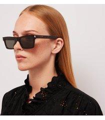 saint laurent women's betty regtangular acetate sunglasses - havana/grey