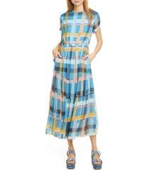 women's dolan althea plaid short sleeve chiffon dress, size small - blue
