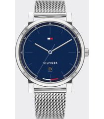 tommy hilfiger men's black ion-plated mesh watch silver -
